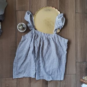 Old Navy Striped Blue Ruffle Flounce Top XXL